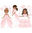 African American Princesses Set vector image