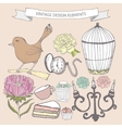 Collection of hand drawn vintage items vector image