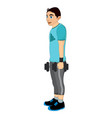 exercising man holding dumbells vector image