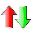 Up and down arrows Red and green shiny arrow with vector image