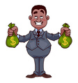 Happy businessman with bags of money vector image
