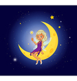 A fairy holding a wand sitting at the moon vector image