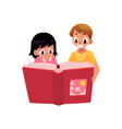 two happy kids children reading book together vector image