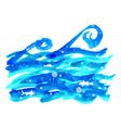 watercolor sea wave vector image