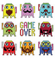 Pixelated hipster robot emoticons vector image