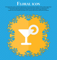 Drink cocktail with a lemon Floral flat design on vector image