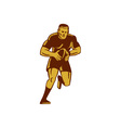 Rugby Player Running Ball Woodcut vector image