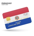 Credit card with Paraguay flag background for bank vector image