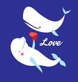 Graphic of white whales in love on a vector image vector image
