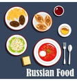 Typical dinner of russian cuisine flat icon vector image
