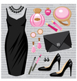 Fashion set with a cocktail dress vector image