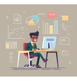 Black man working with office icons on background vector image