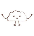 cloud kawaii caricature with open arms standing in vector image