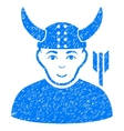 Horned Warrior Grainy Texture Icon vector image