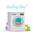 washing machine with cleaning stuff vector image