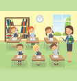 teacher with pupils in a classroom at a lesson vector image