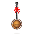 A Beautiful Brown Banjo with Red Ribbon vector image vector image