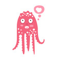 cute cartoon pink octopus character dreaming vector image