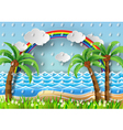 palm with island and rainbow with rain vector image