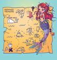 A Mermaid and Treasure Map vector image