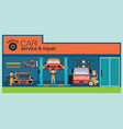 car service and repair center or garage with vector image