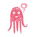 cute cartoon pink octopus character dreaming vector image