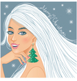 Cute fantasy girl with Christmas greetings vector image