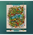 Doodles cartoon colorful Merry Christmas hand vector image