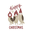 Happy Christmas card three cute owls vector image