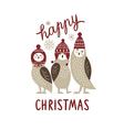 Happy Christmas card three cute owls vector image