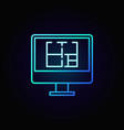 house plan on pc display icon vector image