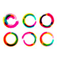 set of grange circles color circle brush vector image