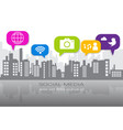 social media icons over silhouette city background vector image