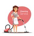 woman character vacuuming the floor vector image