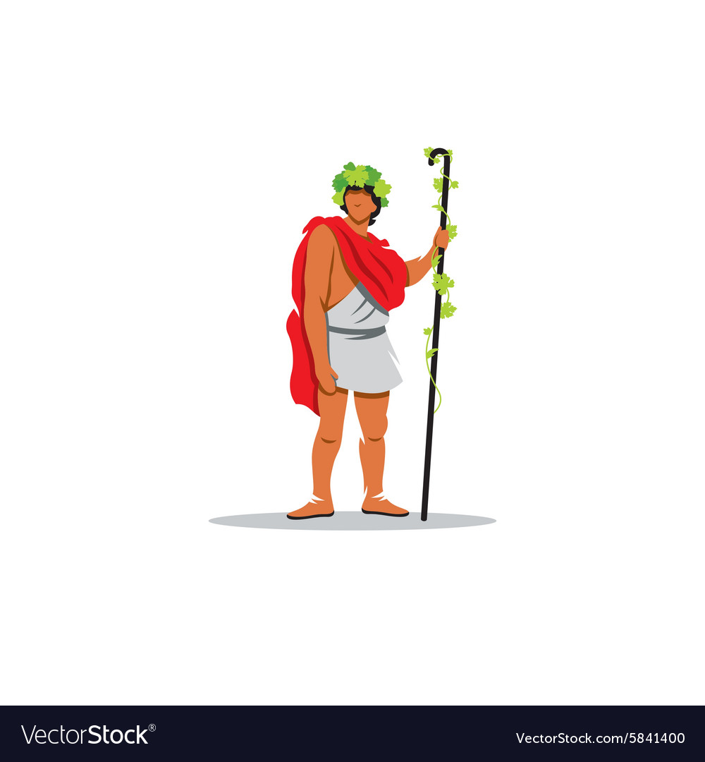 Dionysus sign the mythological greek god of wine vector