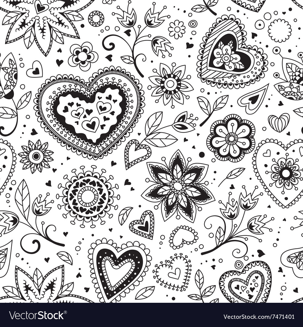 Love hearts seamless pattern 4 vector