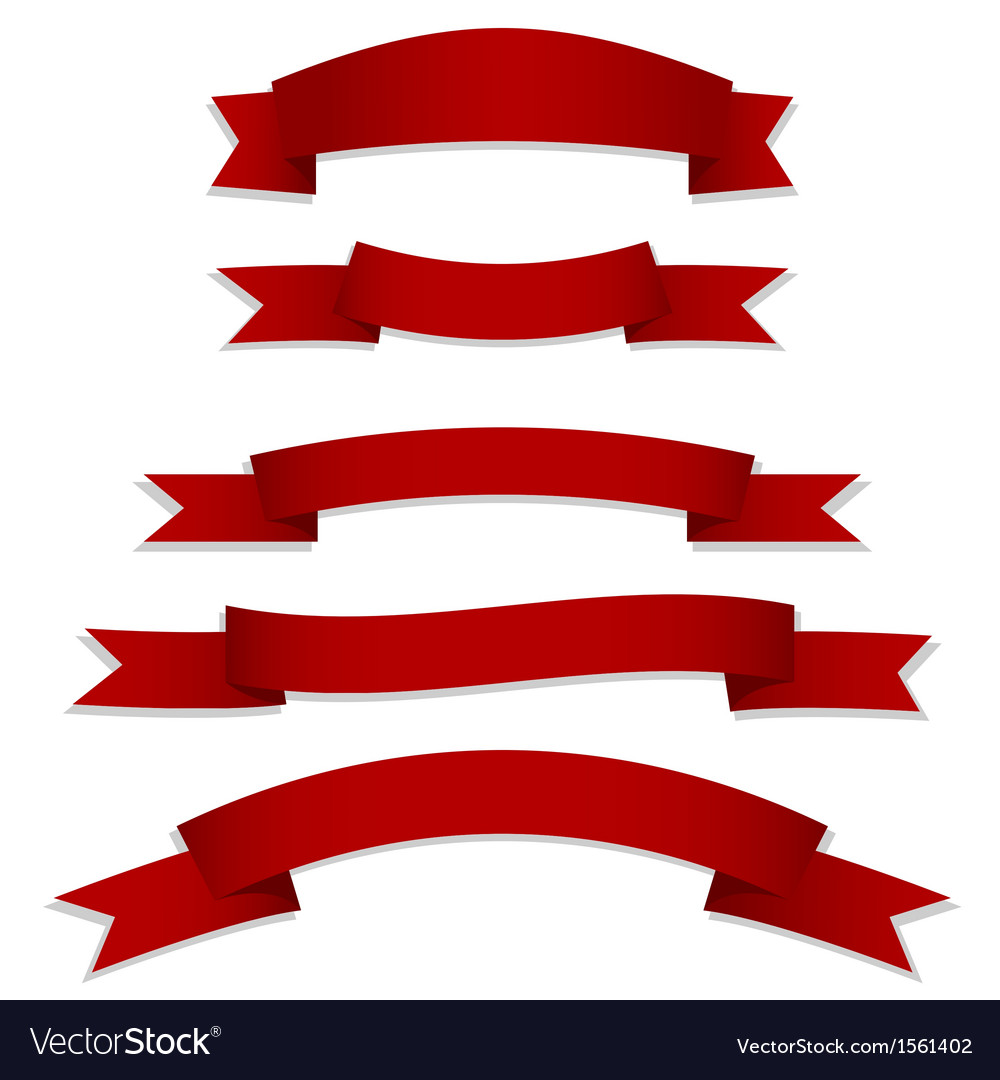 Red ribbons flags vector