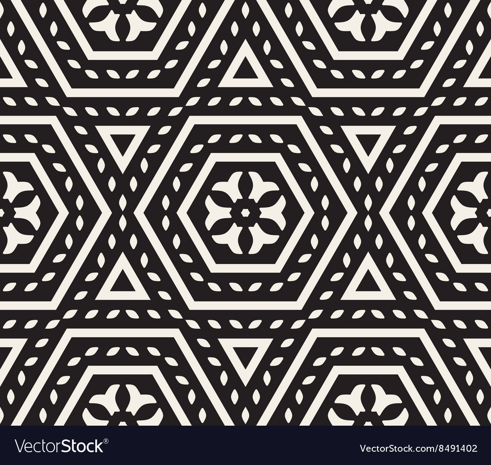 Seamless black and white rounded floral vector