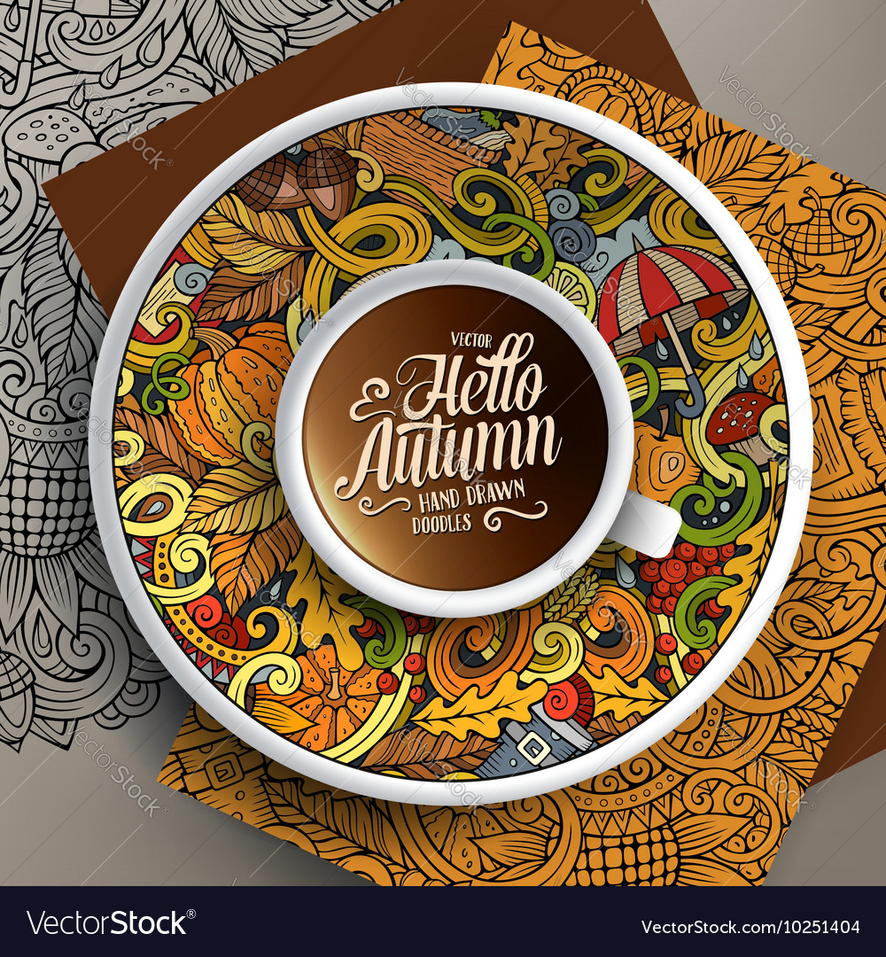 Cup of coffee and autumn doodles vector