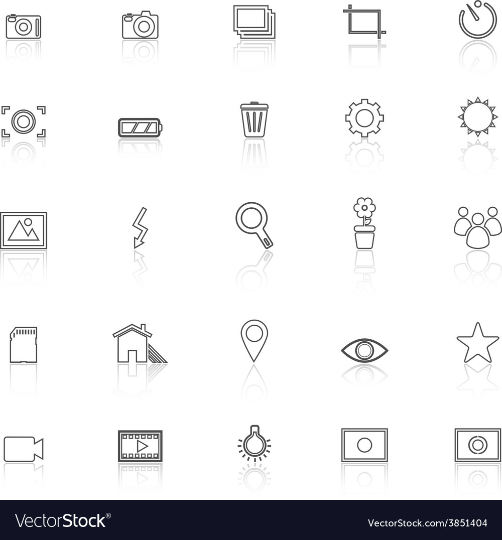 Photography line icons with reflect on white vector