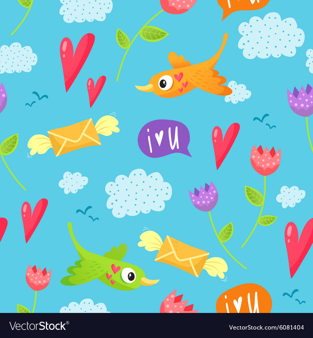 Romantic seamless pattern with birds hearts vector
