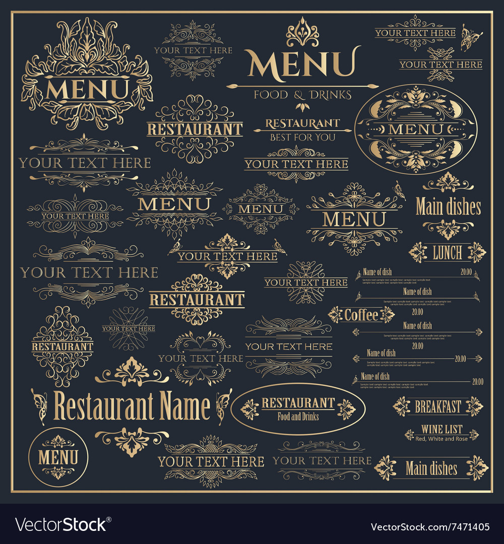 Set of golden design elements for restaurant menu vector