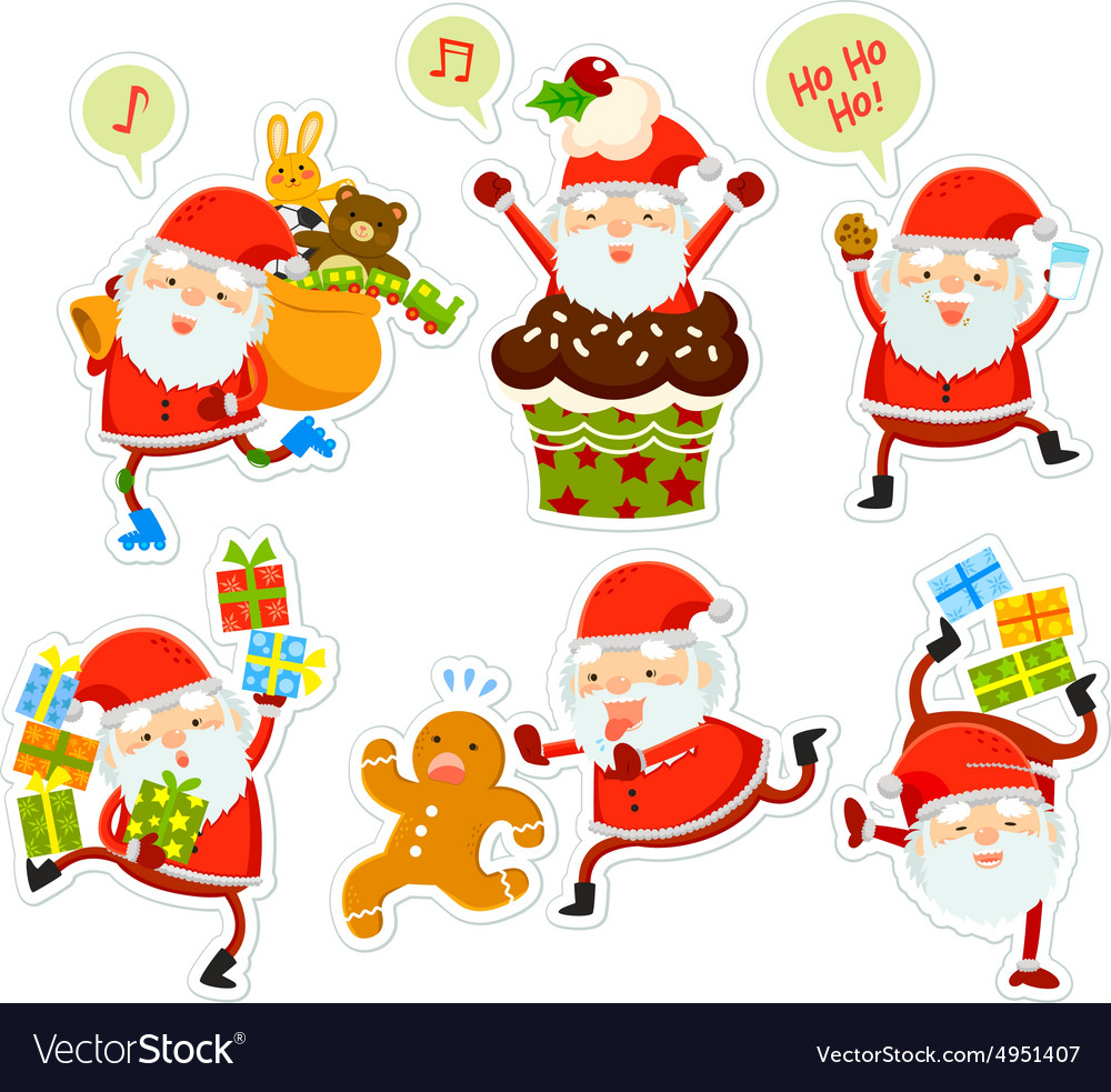 Funny santa cartoons vector