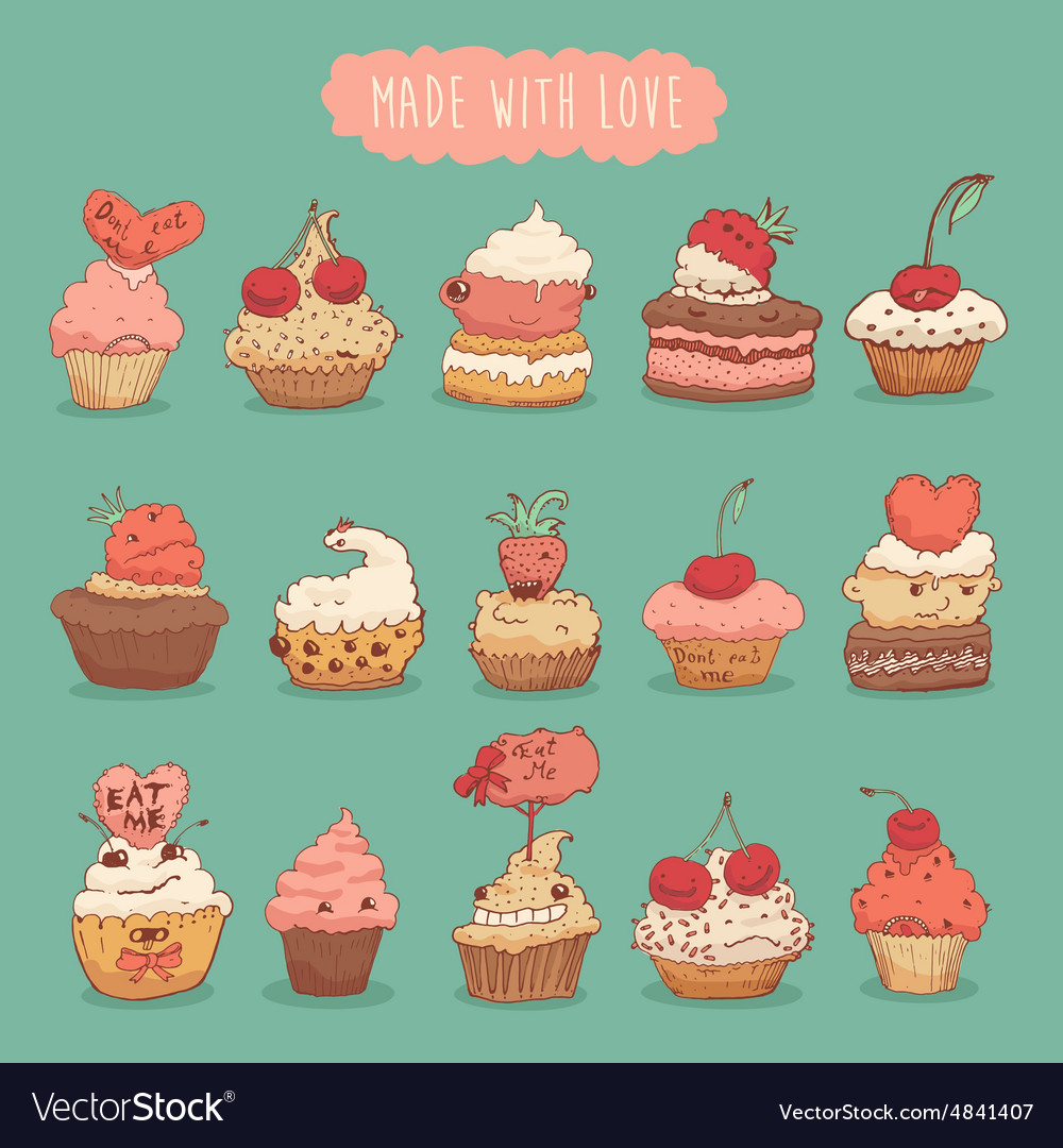 Sweet cupcakes set retro hand drawn vector