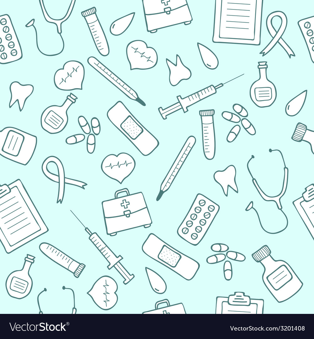 Medical set seamless pattern vector
