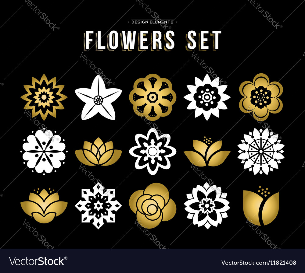 Set of gold color flower icons in flat style vector