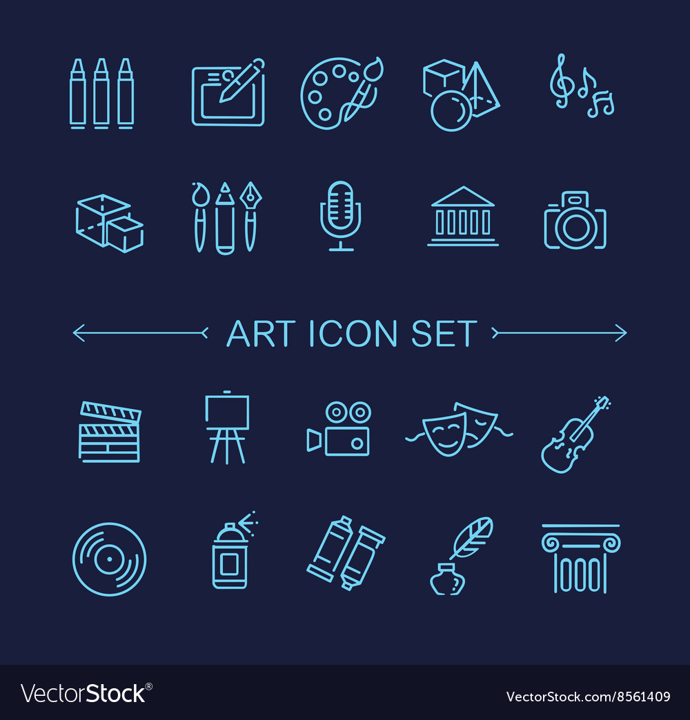 Line art icons music theater and artistic icons vector