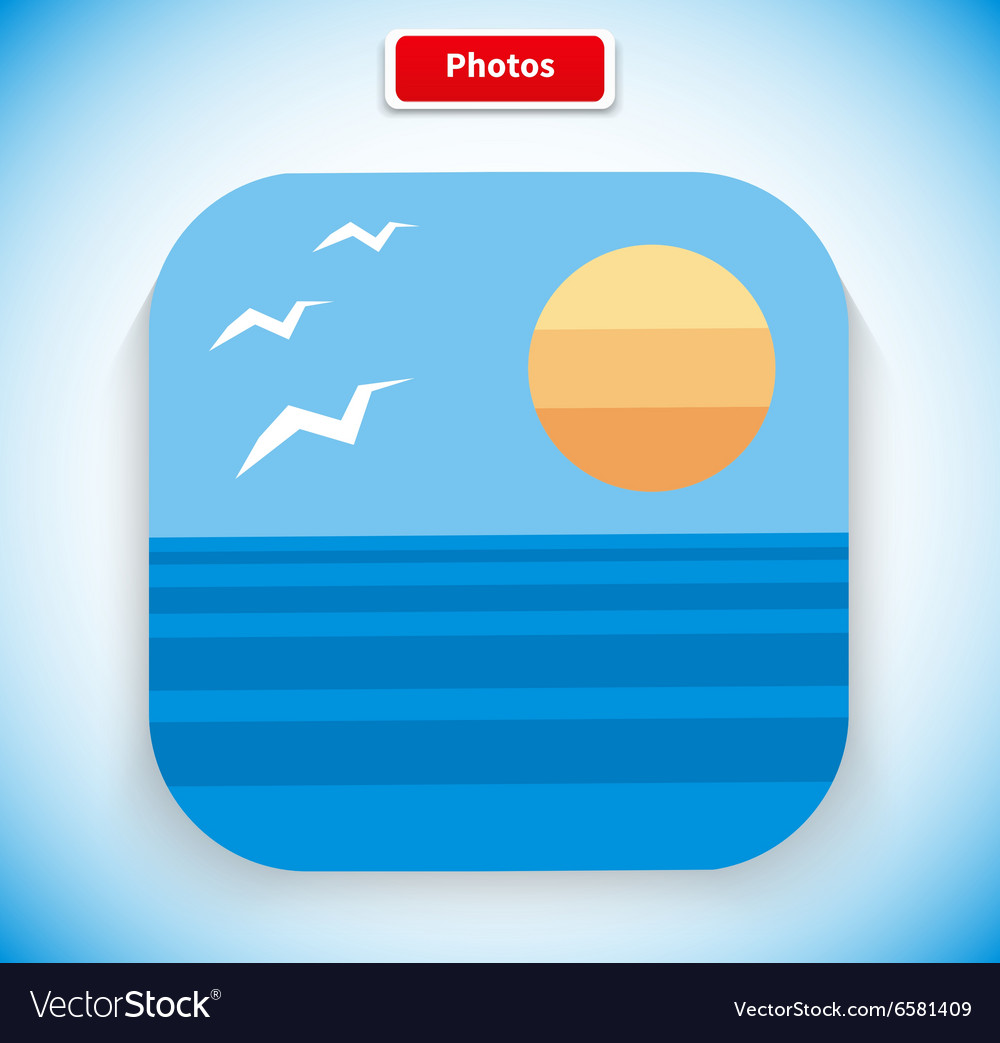Photo app icon flat style design vector