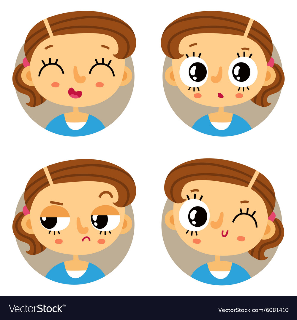 Set of four young girl emotions vector