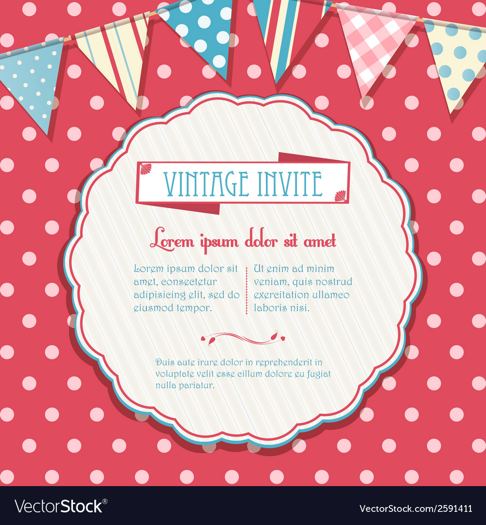 Invite and bunting background circular vector